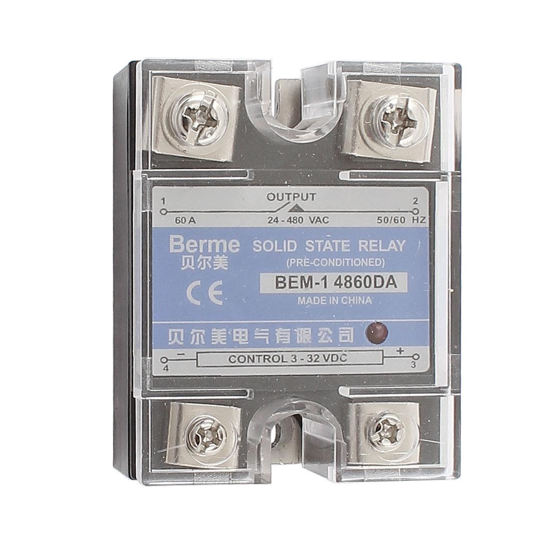 Solid State Relay Module BEM-1 4860DA DC-AC 60A 3-32VDC/24-480VAC