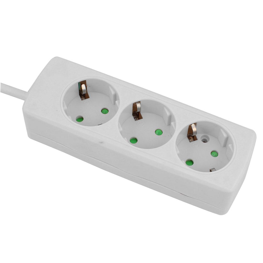 AC 250V EU Plug 2.5 Meters Extension Cable 3 EU Socket Strip Power Outlet Bar