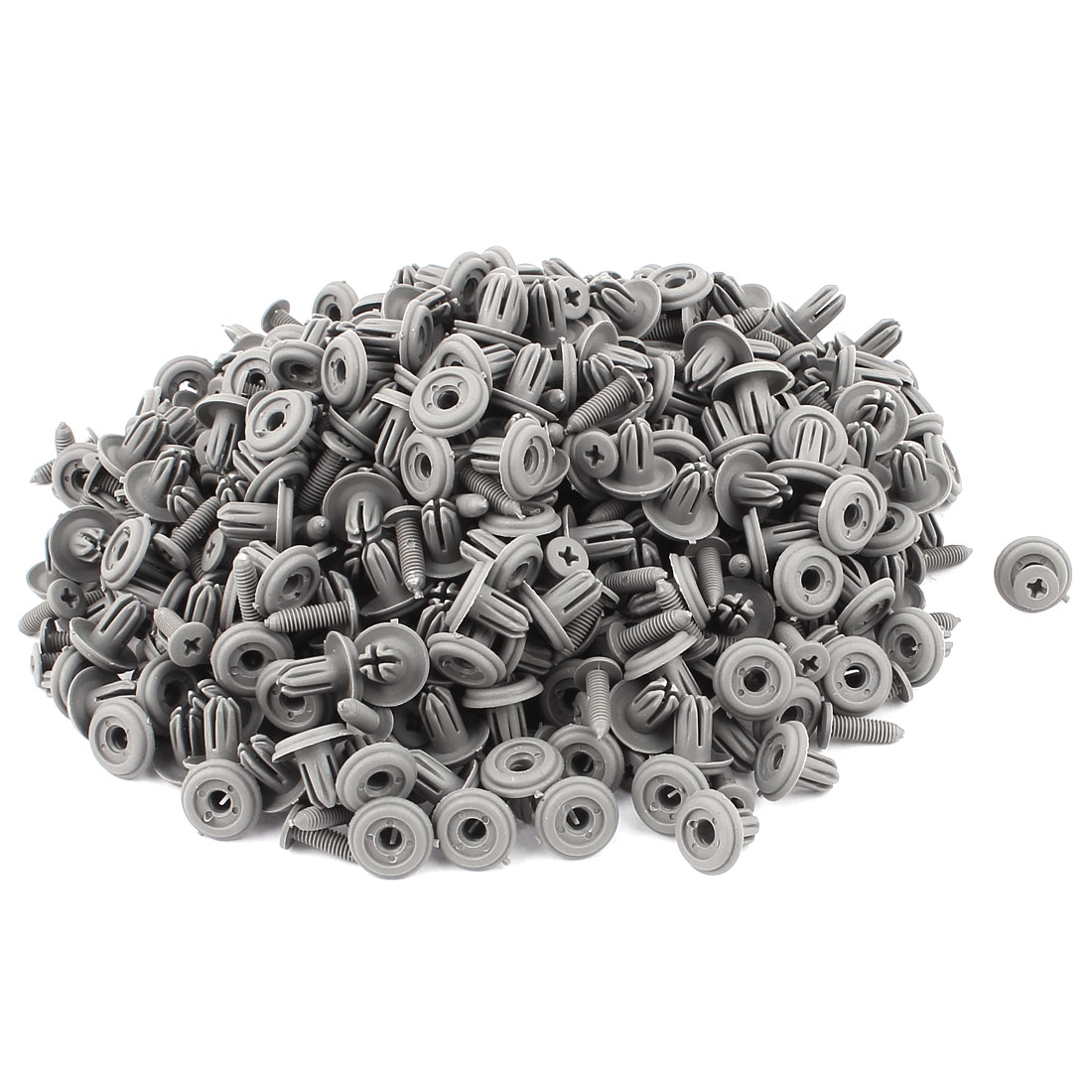 300pcs 6mm Hole Gray Plastic Rivets Fastener Car Push in Type Bumper Retainer Clips