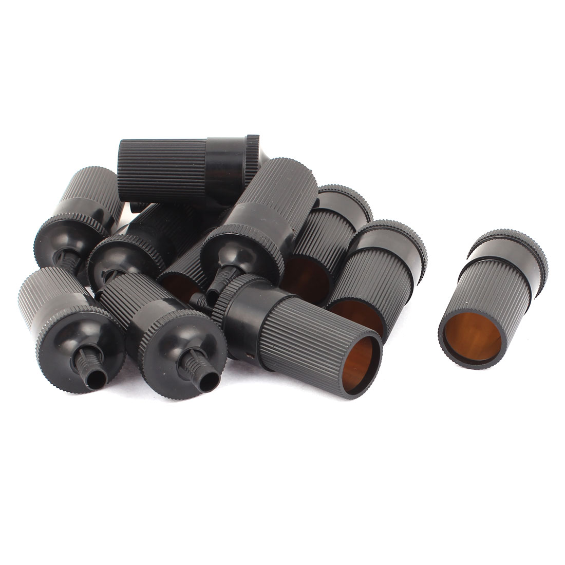 Auto Car Plastic Cylindrical Inline Cigarette Lighter Female Socket Connector Black 12pcs