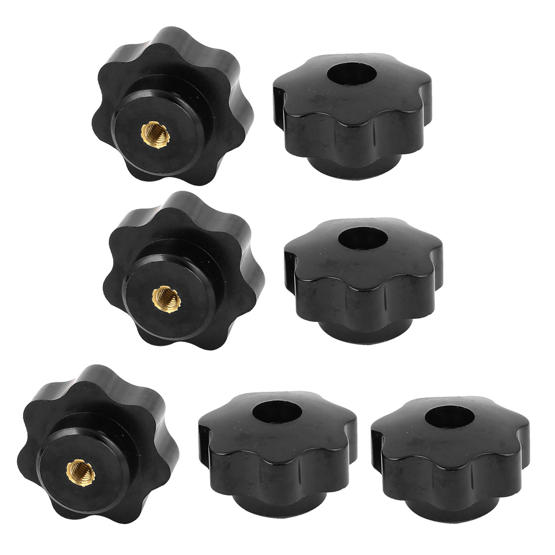 M5 Female Threaded Black Plastic Star Head Screw on Type Clamping Nuts Knob Grip 7pcs