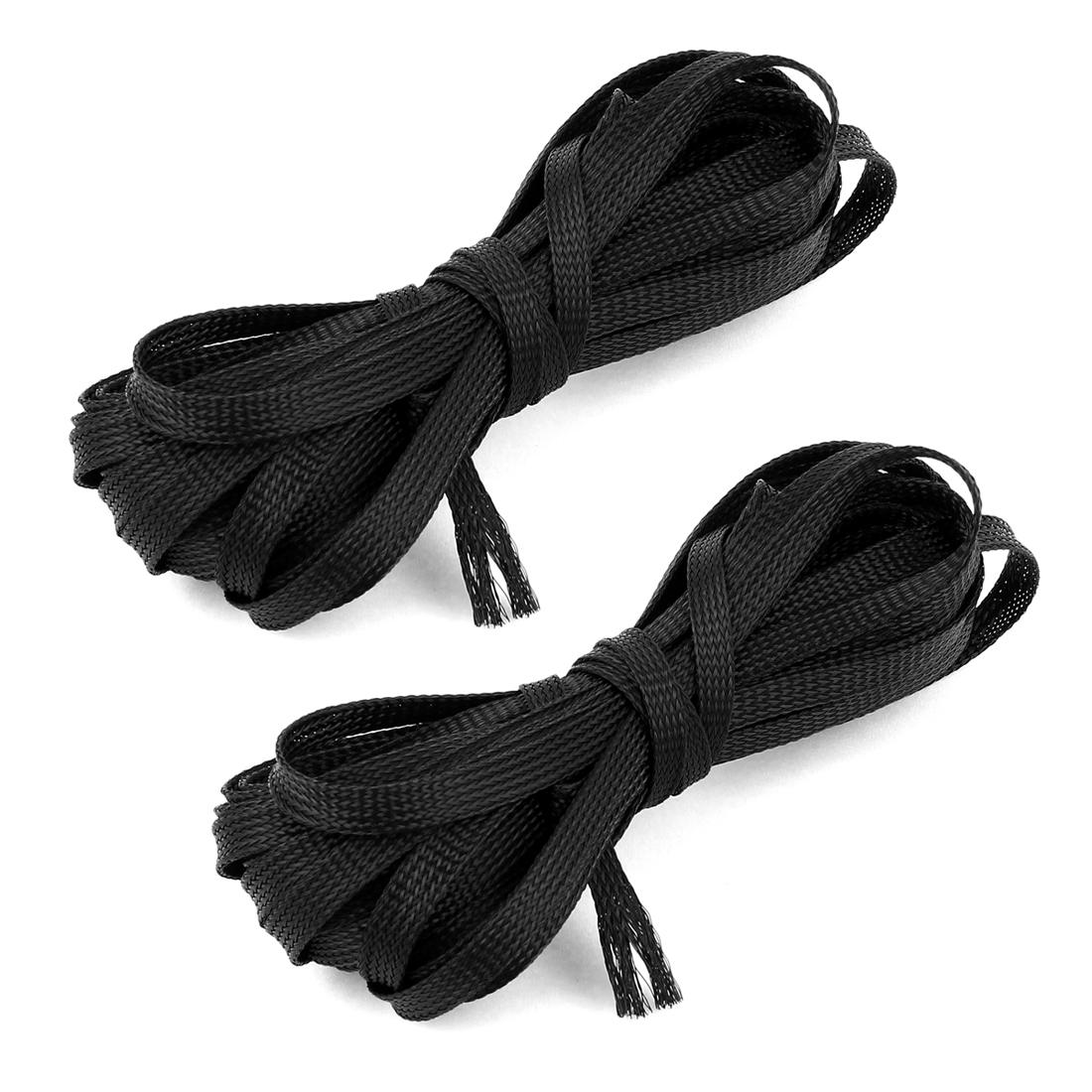 2pcs Black Nylon Expandable Braided Sleeving Wire Cord Cable Cover Protector 11M 36Ft Length