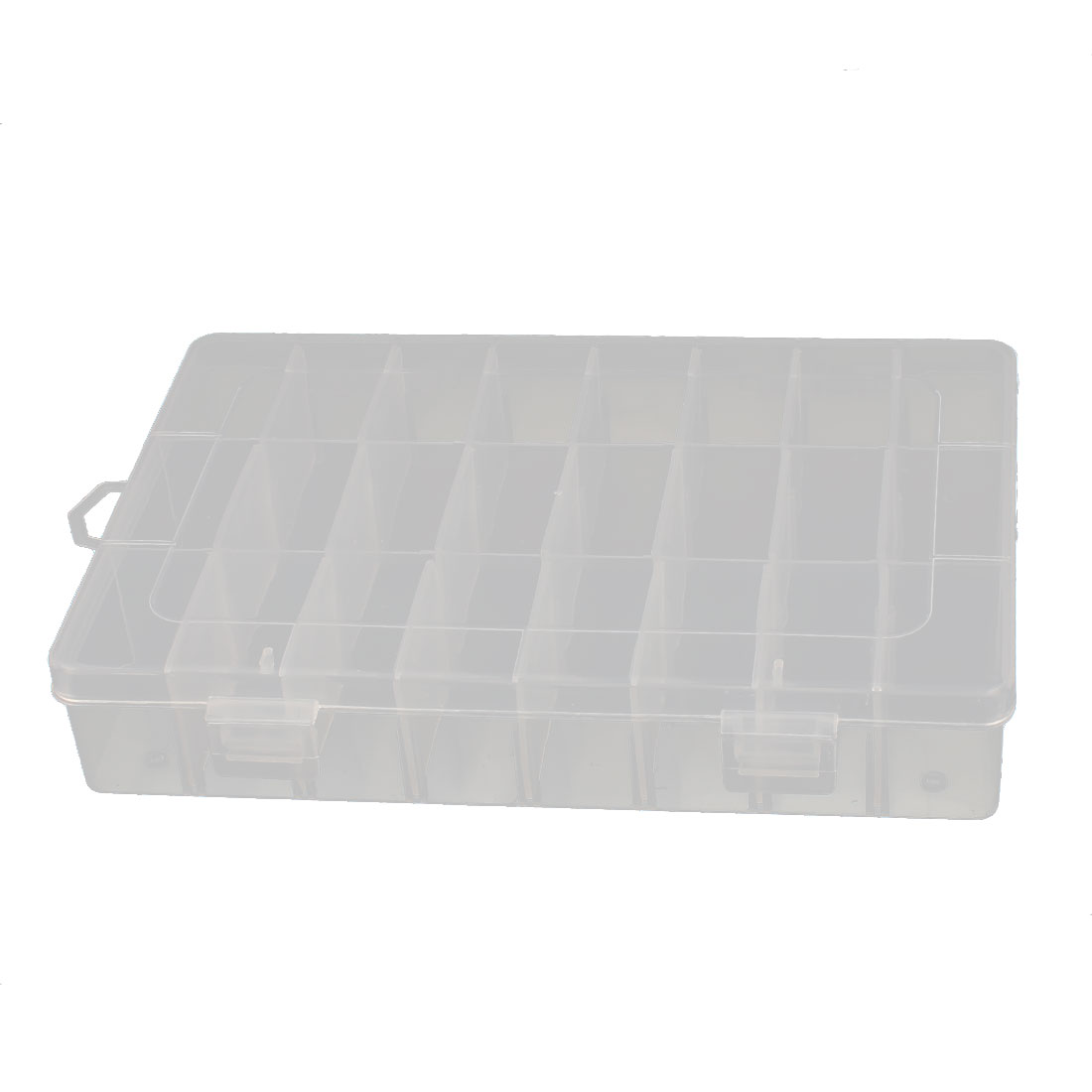 Clear White Plastic Detachable 24 Grids Electronic Components Storage Holder Box Case