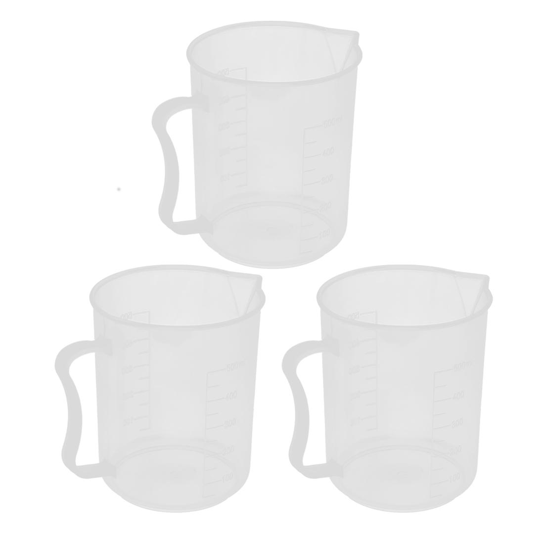 3pcs 500mL Capacity Clear White Plastic Graduated Water Liquid Beaker Measuring Testing Cup Measurer