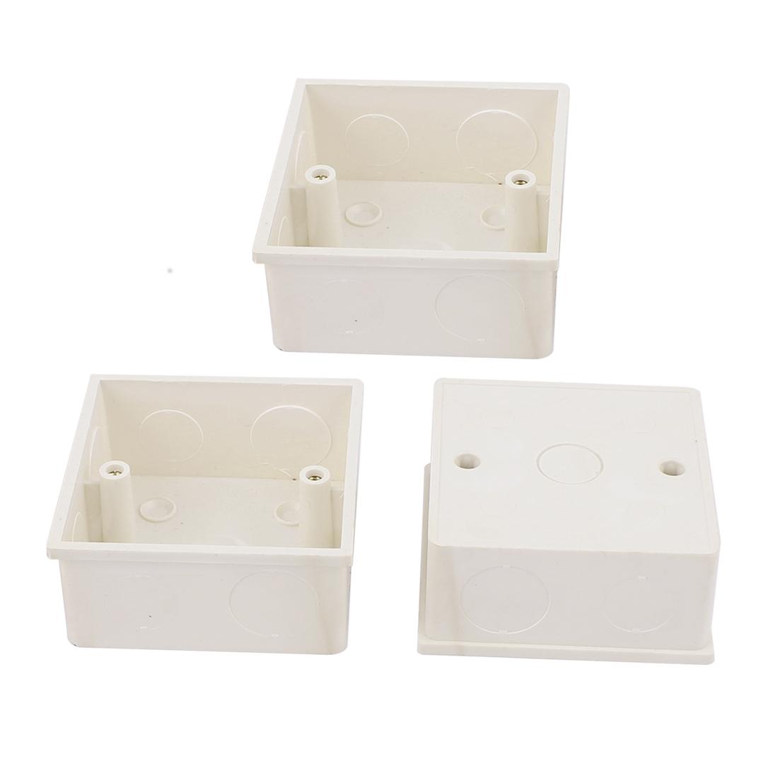 3pcs 86mm x 86mm x 39mm White PVC Square Single Gang Mount Back Box for Wall Socket