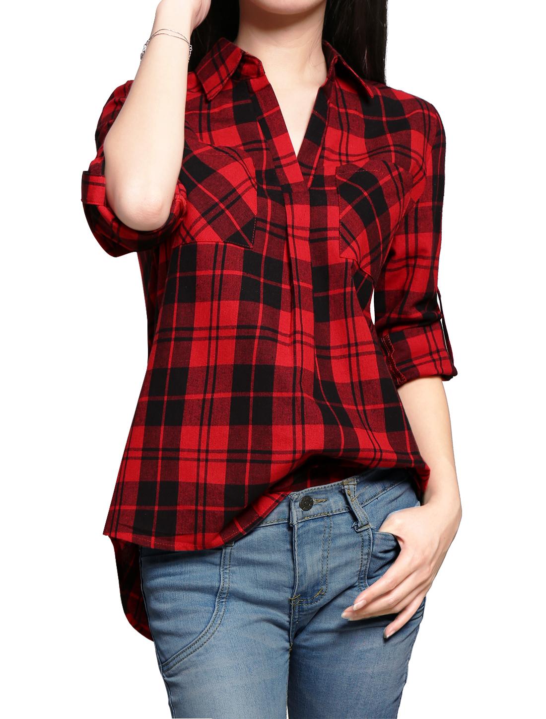 Girl Point Collar V-Neck High Low Hem Plaids Shirt Allegra Kids Red 14