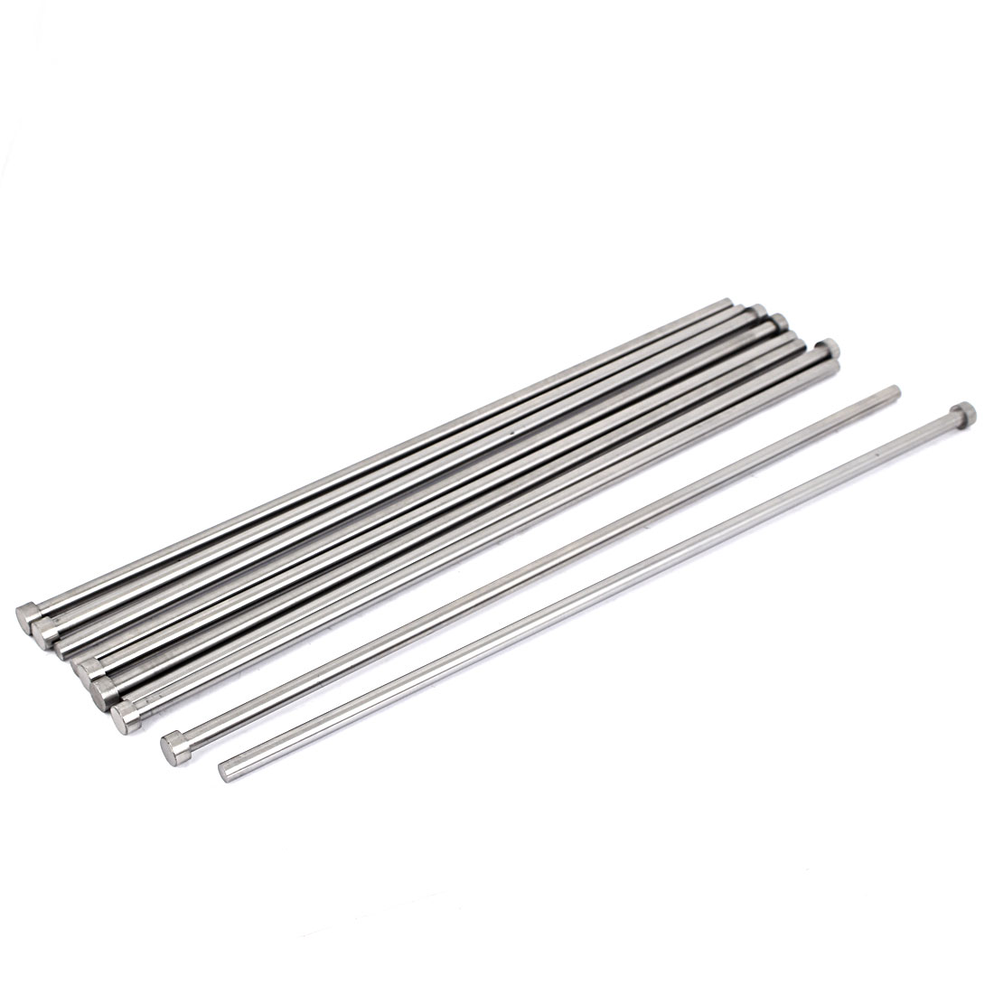 Die Mold Equipment Steel Straight Ejector Pins Punches 7mmx350mm Silver Gray 10pcs