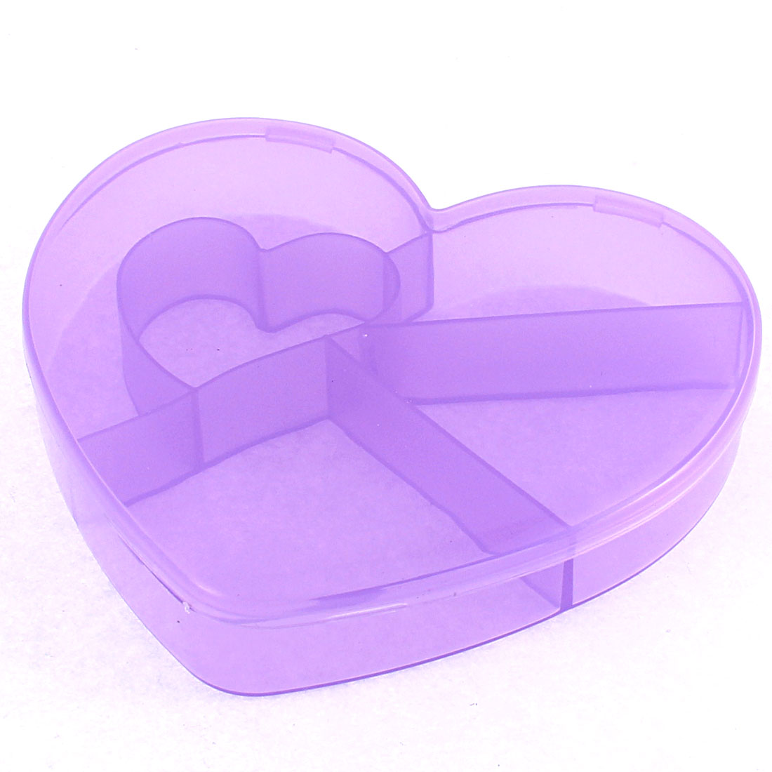 Medicine Heart Shaped 5 Slots Storage Box Case Organizer Container Clear Purple