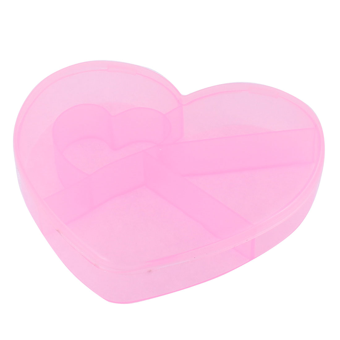 Medicine Plastic Heart Shaped 5 Slots Storage Box Case Organizer Container Clear Pink