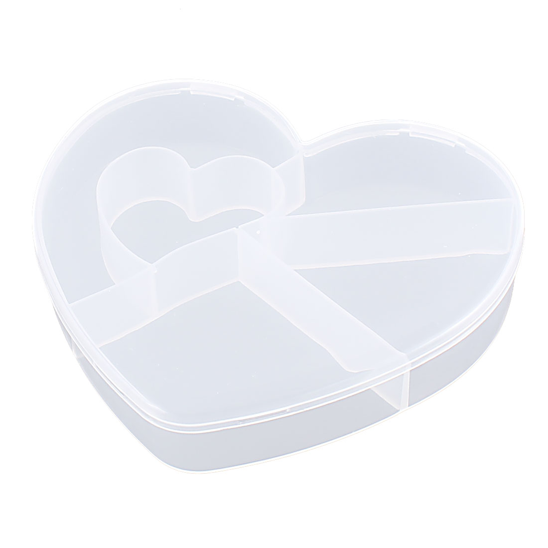 Medicine Plastic Heart Shaped 5 Slots Storage Box Case Organizer Container Clear