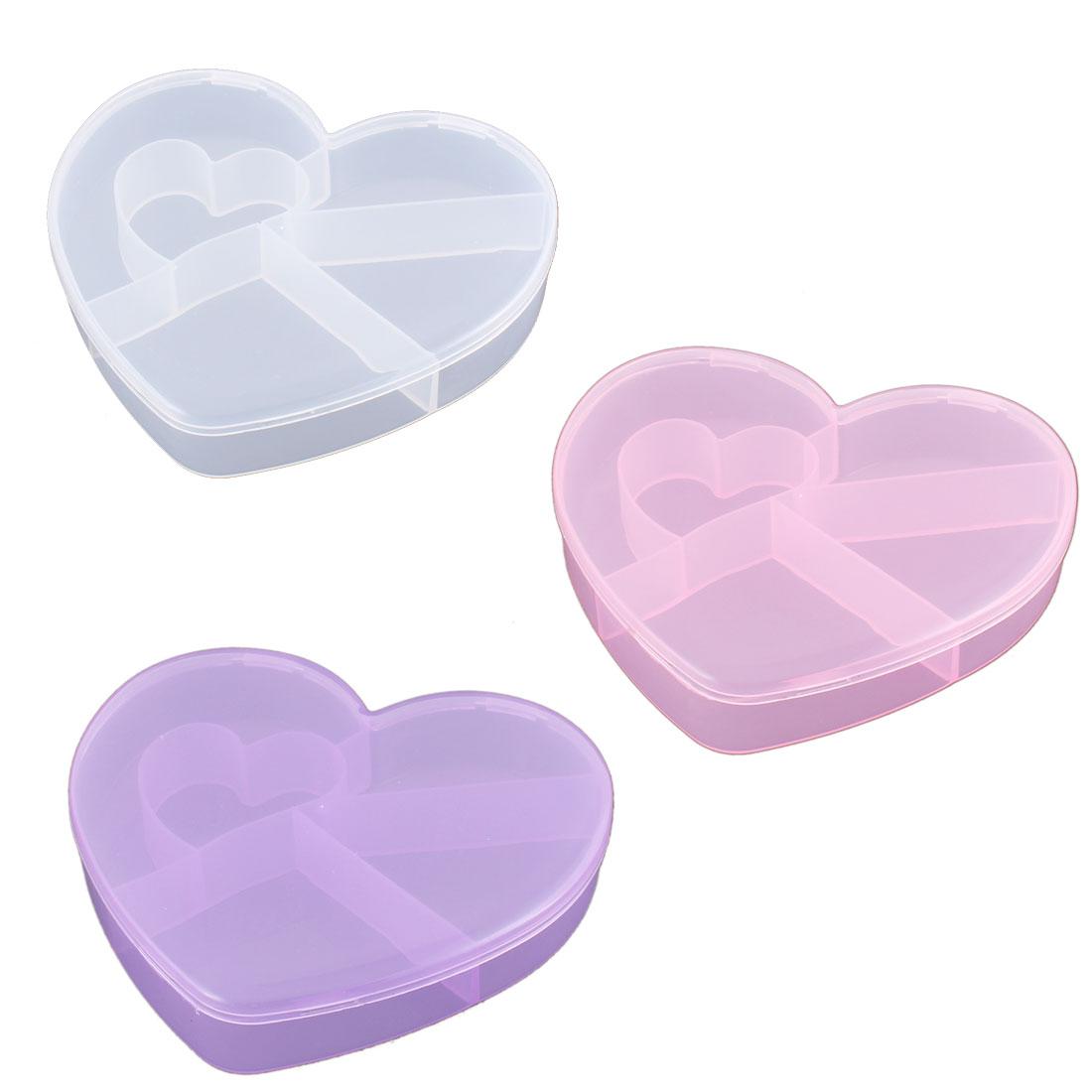 Medicine Plastic Heart Shaped 5 Slots Storage Box Case Organizer Container 3pcs