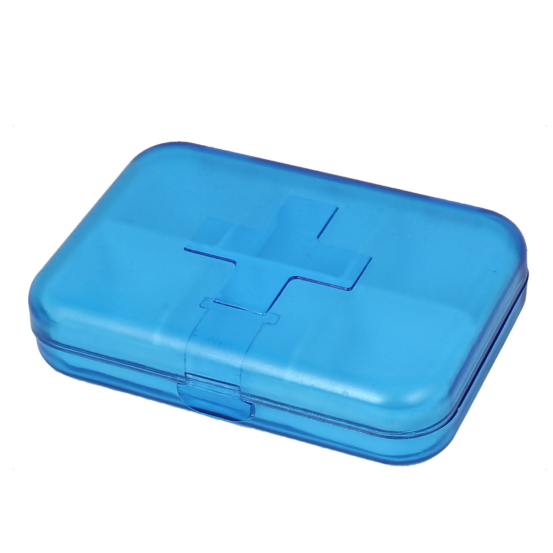 Plastic Portable 6 Compartments Pill Drug Storage Box Case Container Clear Blue