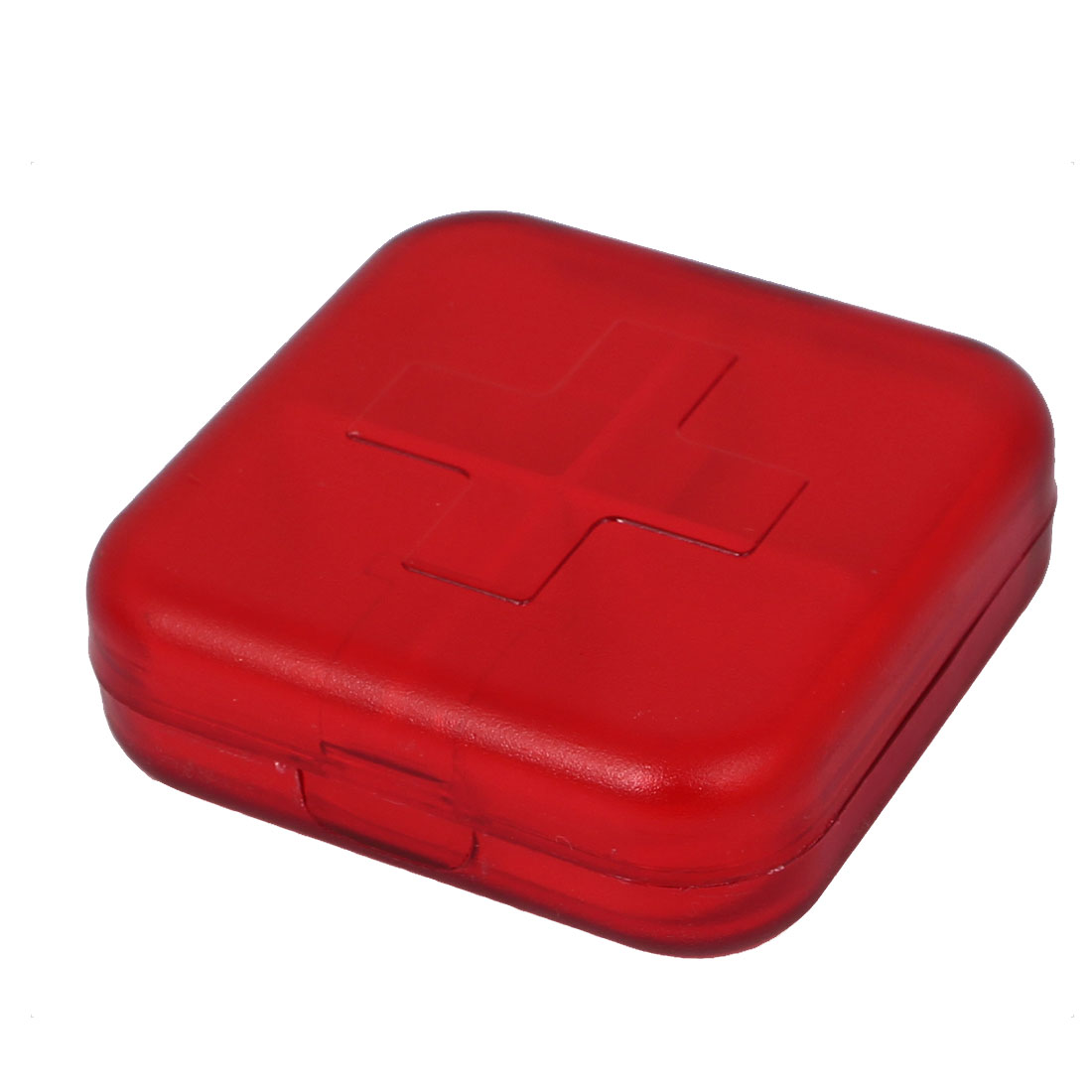 Plastic 4 Compartments Medicine Pill Box Storage Container Case Clear Red