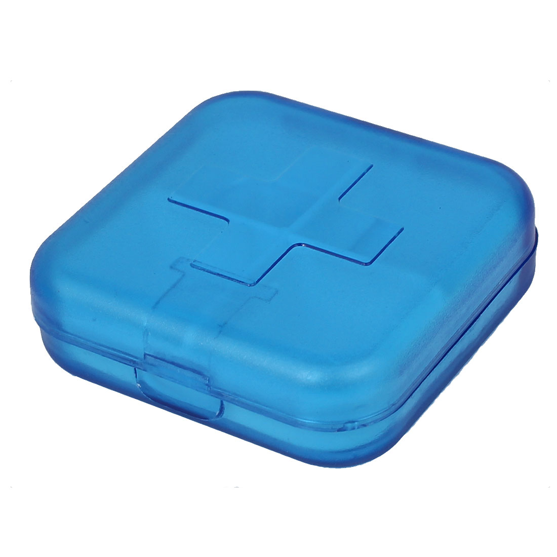 Plastic 4 Compartments Pill Box Tablet Holder Case Organizer Container Clear Blue