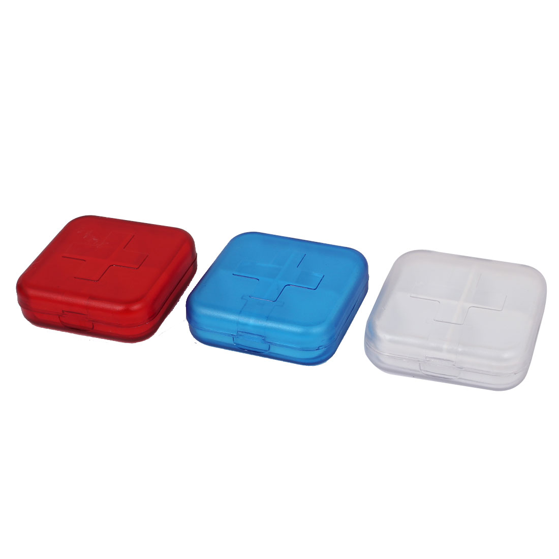 Plastic Rectangle Shaped 4 Compartments Drug Pill Organizer Box Case 3PCS