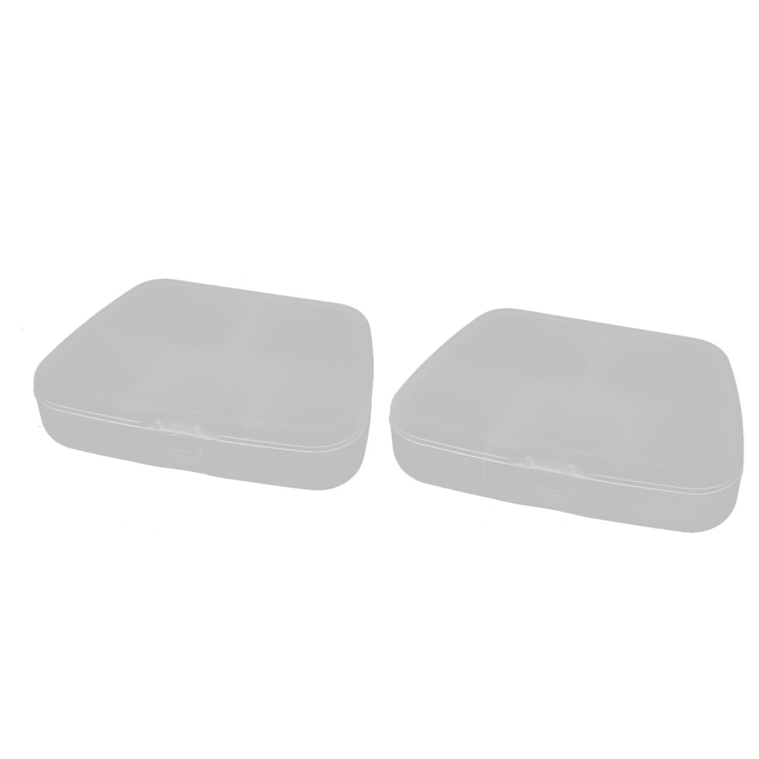 Plastic 5 Compartments Pill Tablet Gadget Storage Box Case Clear 2PCS