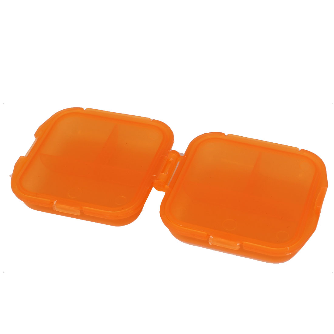 Plastic Rectangle Shape 6 Compartments Medicine Pill Storage Case Box Orange