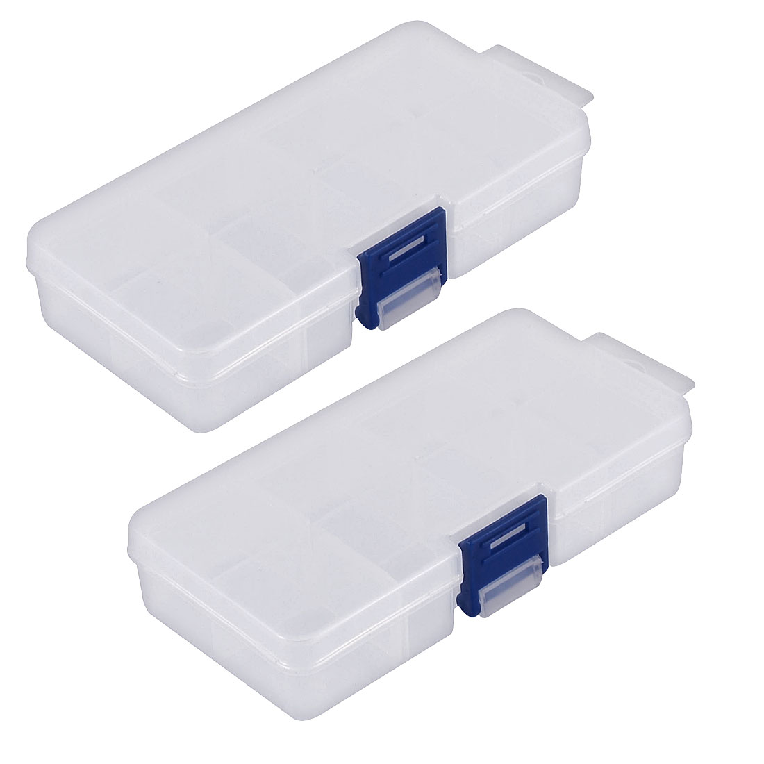 Jewelry Earring Pill Adjustable Plastic 8 Slots Storage Divider Box Case 2pcs