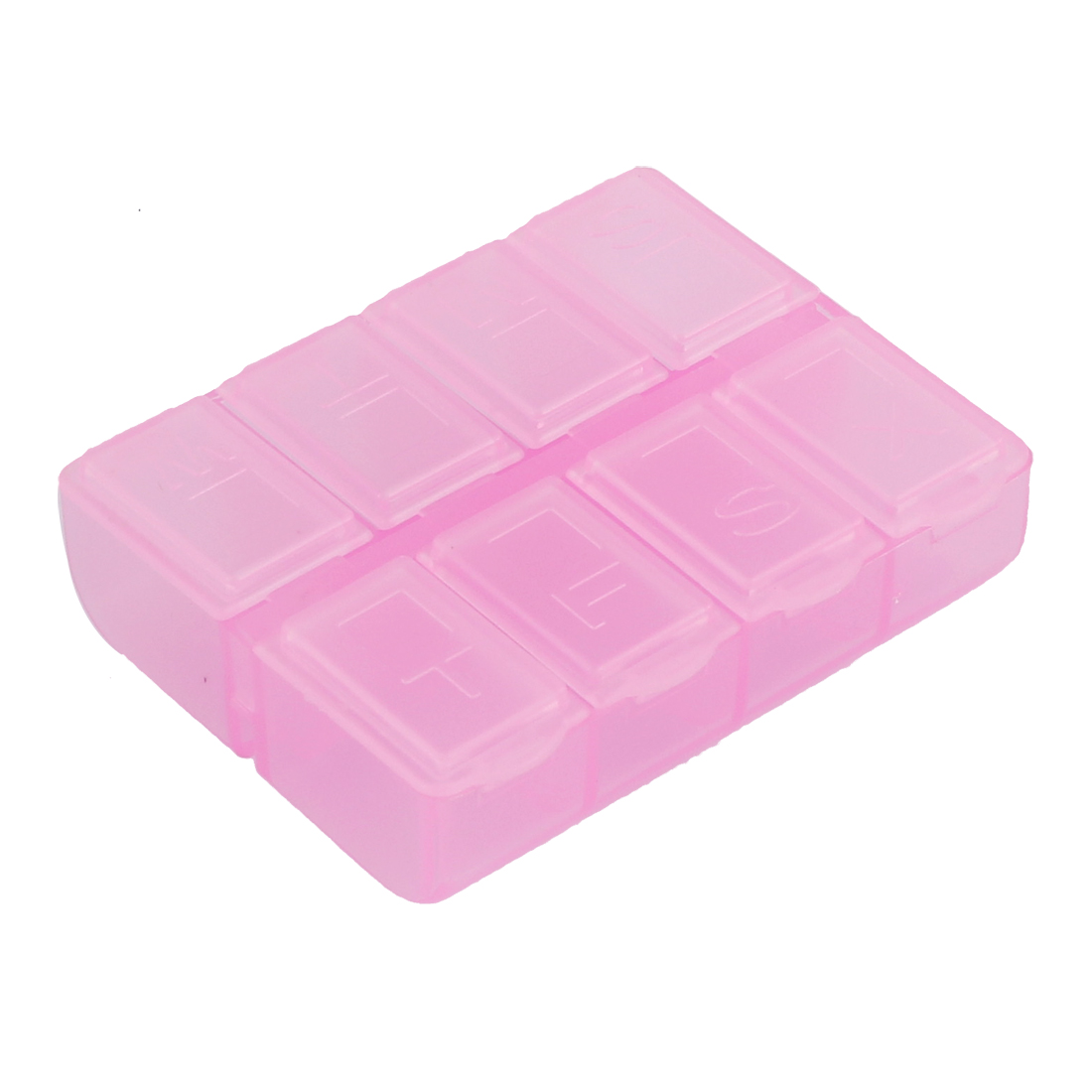 Pill Tablet Medicine 8 Slots Dispenser Organizer Storage Case Box Clear Pink