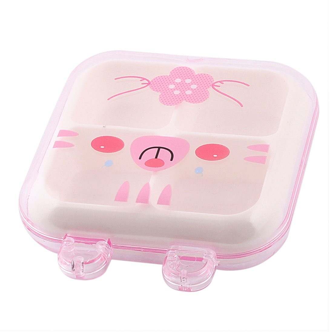 Plastic Cat Pattern 4 Slots Storage Box Case Container Organizer Clear Pink