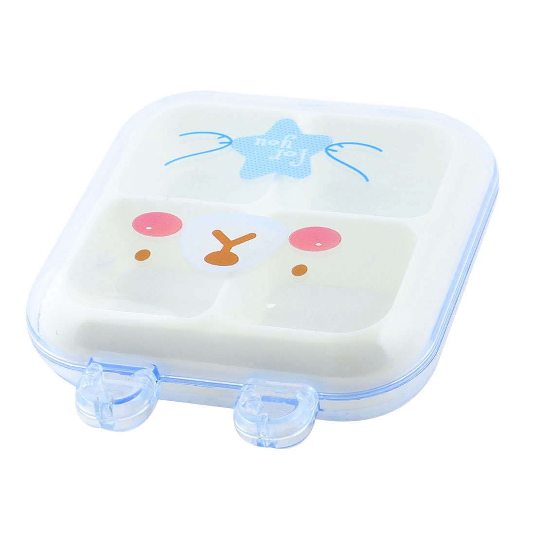 Plastic Bear Pattern 4 Slots Storage Box Case Container Organizer Clear Blue