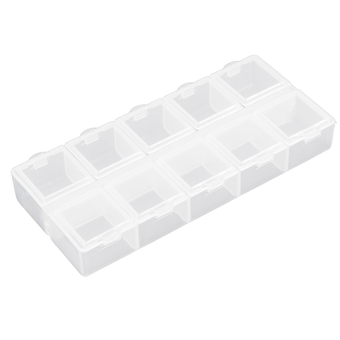 Jewelry Pills Plastic 10 Slots Storage Case Box Organizer Container Clear