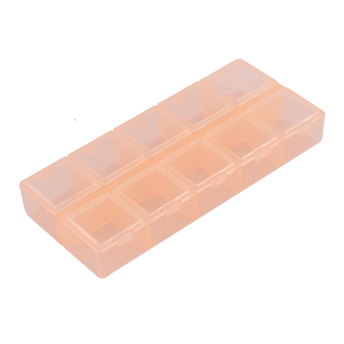 Jewelry Pills Plastic 10 Slots Storage Case Box Organizer Container Clear Orange