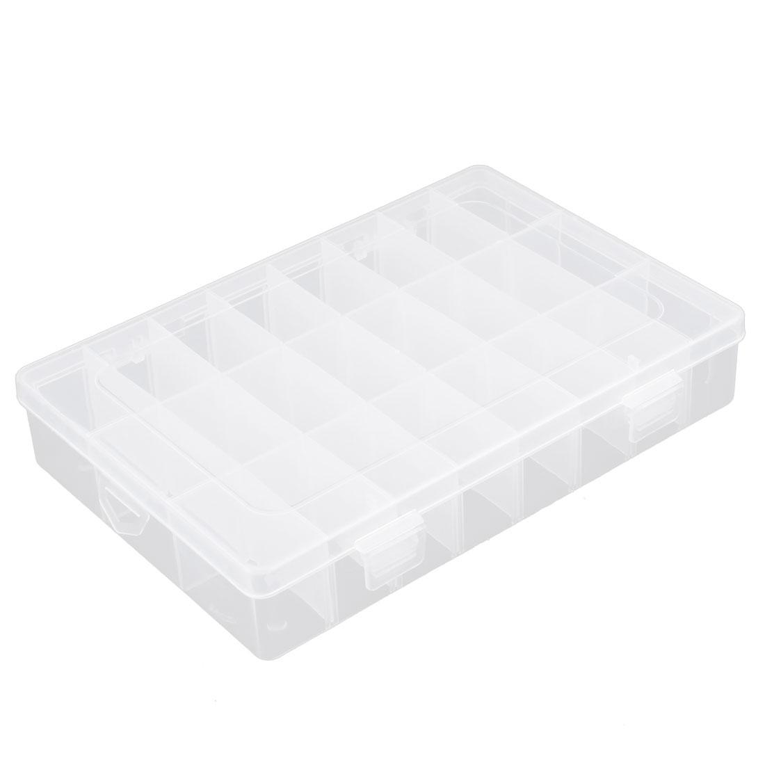 Multipurpose 24 Compartments Plastic Transparent Storage Case Box Organizer