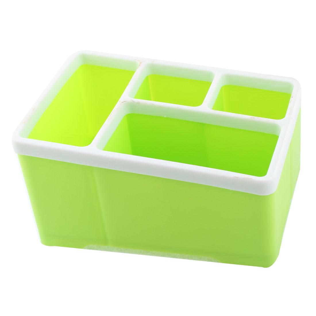Plastic 4 Compartments Remote Control Sundries Storage Organizer Holder Box