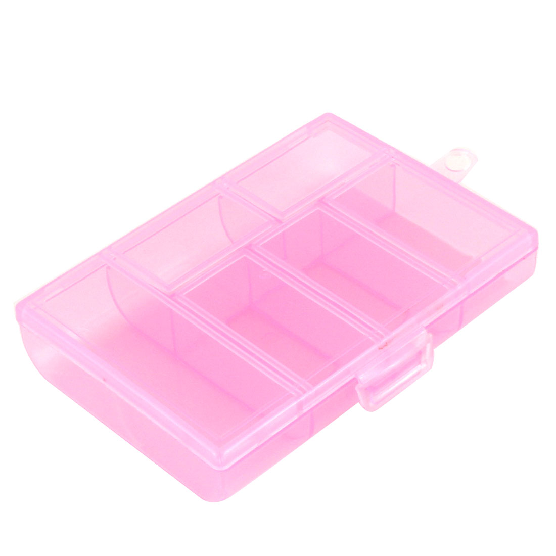 Screws Plastic 6 Compartments Storage Case Box Organizer Holder Clear Pink