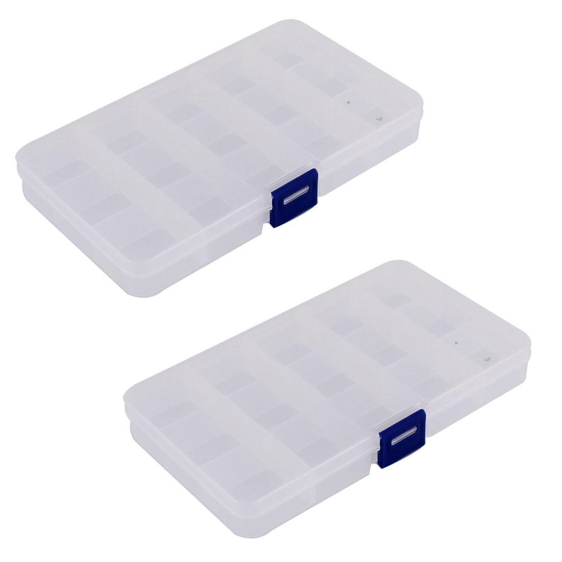 Medicine Jewellery Plastic 15 Slots Storage Box Case Organizer Container 2pcs
