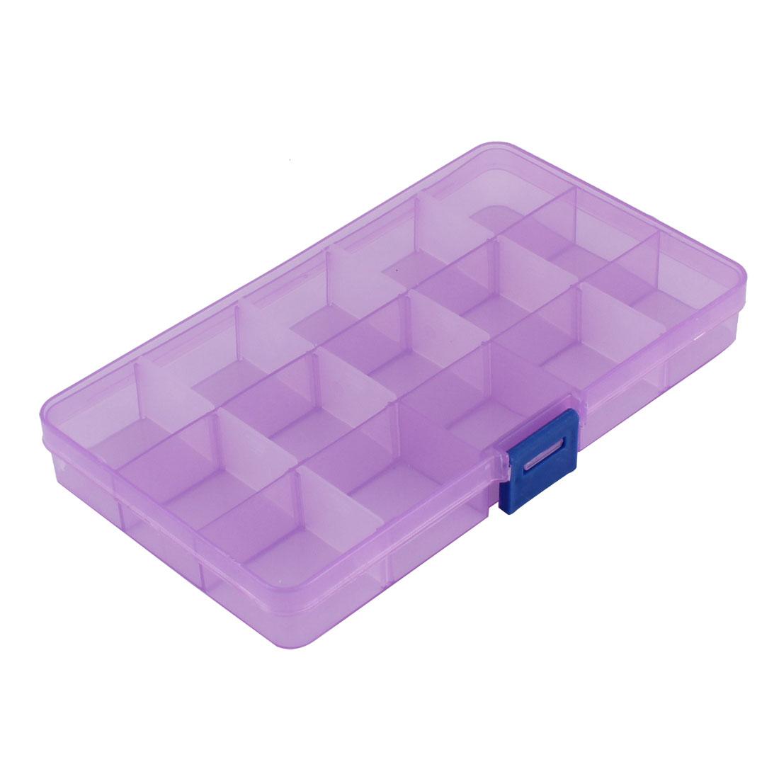 Medicine Jewellery Plastic 15 Slots Storage Box Case Organizer Container Clear Purple