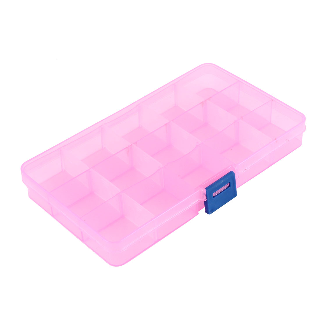 Medicine Jewellery Plastic 15 Slots Storage Box Case Organizer Container Clear Pink