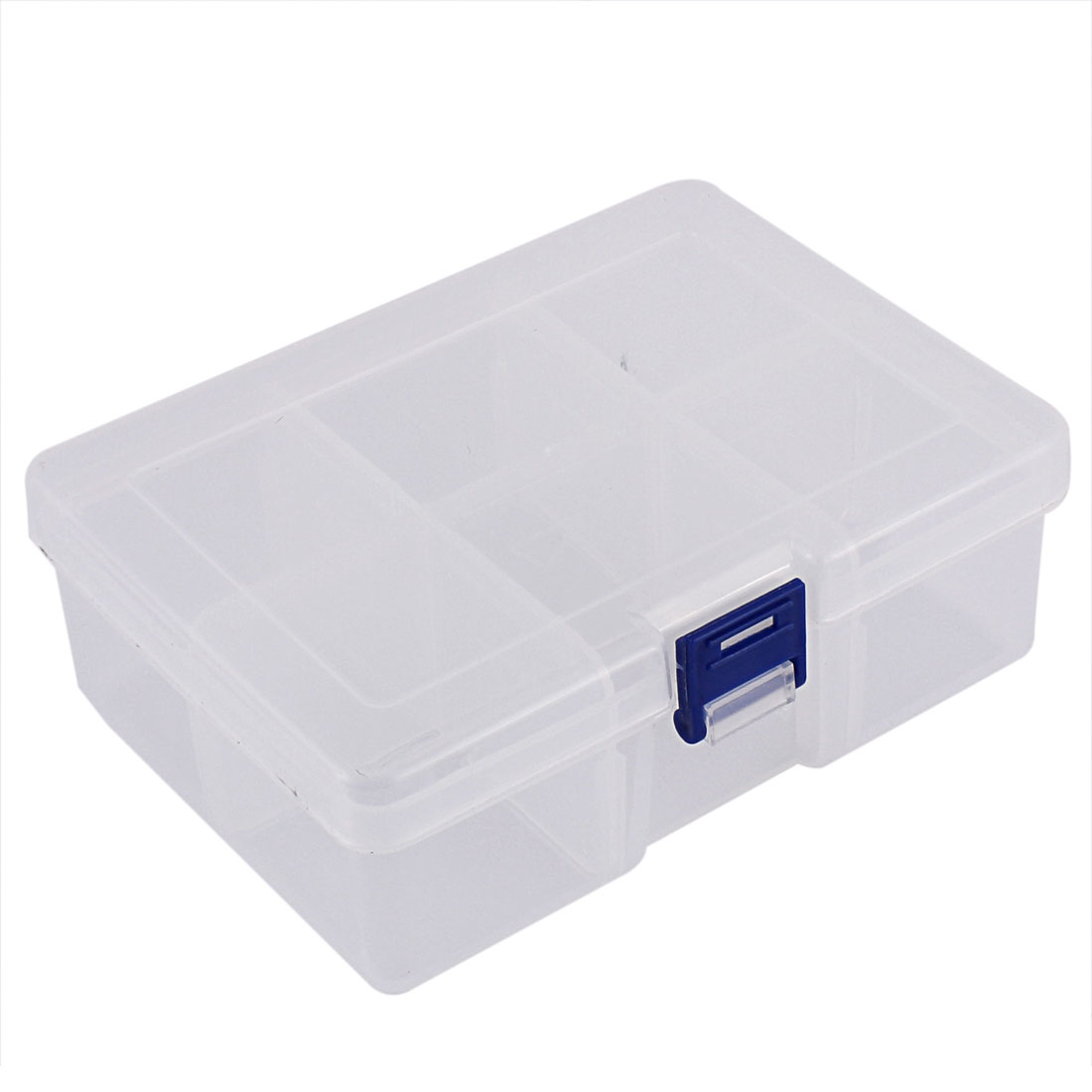 Jewelry Hardware Plastic 6 Slots Storage Case Box Organizer Conatiner Clear