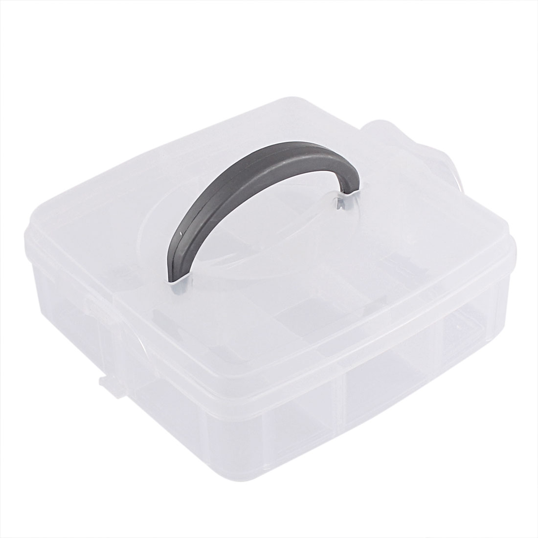 Jewelry Fishing Hook Plastic 6 Compartments Storage Case Box Organizer Clear