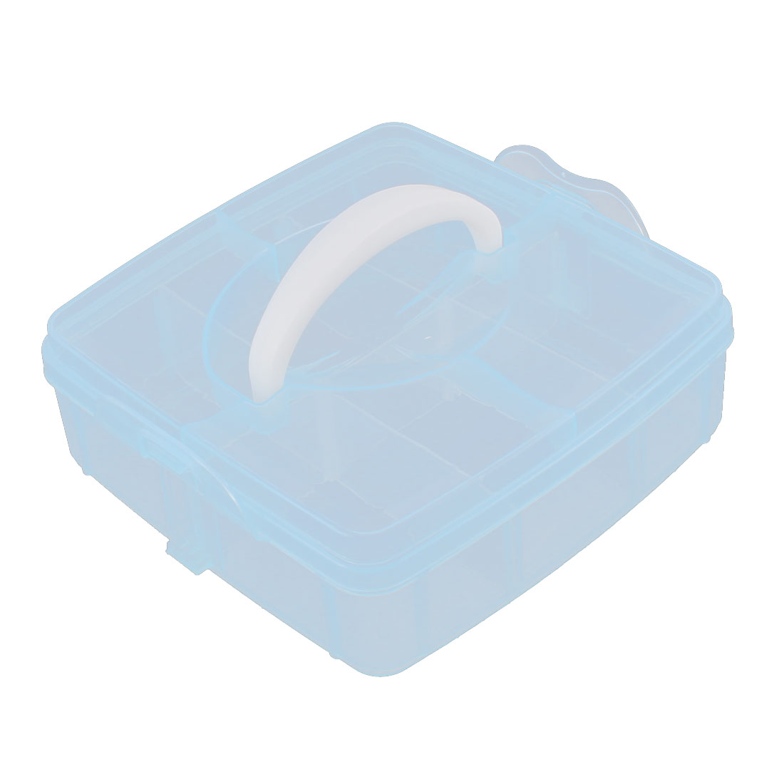 Jewelry Fishing Hook Plastic 6 Compartments Storage Case Box Organizer Clear Blue