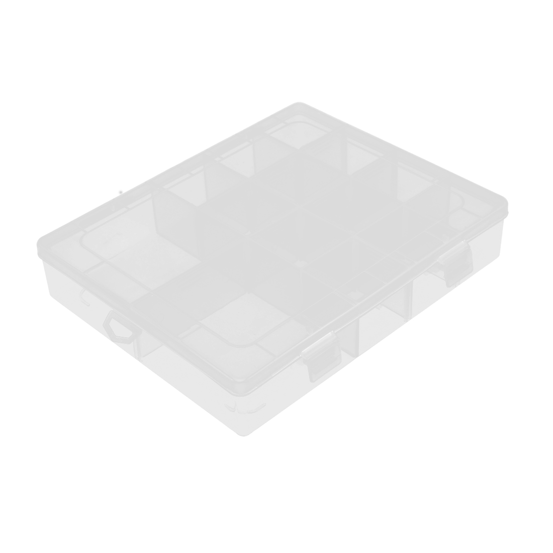 Desk Battery Jewelry Plastic 14 Slots Cosmetic Storage Box Case Holder Clear