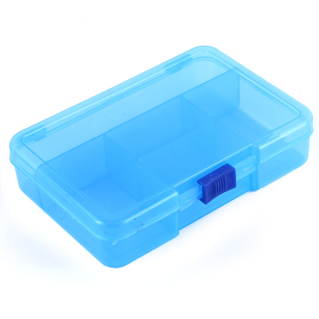 Home Jewelry Beads Fish Bait Plastic 5 Slots Storage Box Case Organizer Clear Blue