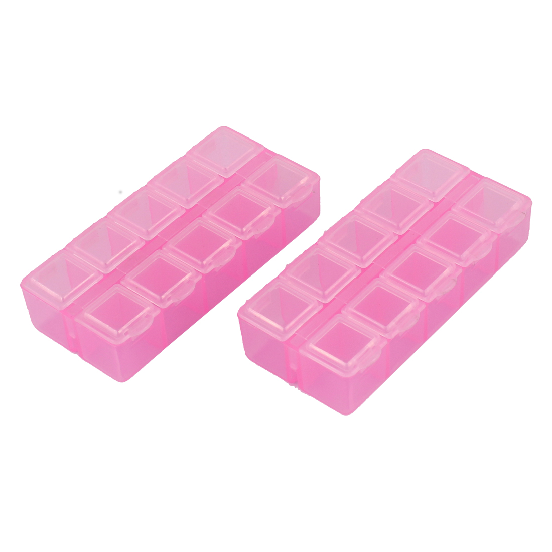 Component Dual Row 12 Slots Storage Case Box Organizer Container Clear Pink 2pcs
