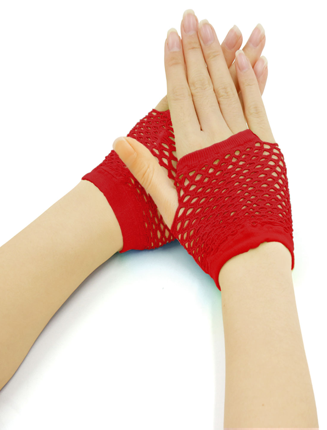 Women Wrist Length Stretchy Fingerless Fishnet Gloves 2 Pairs Red