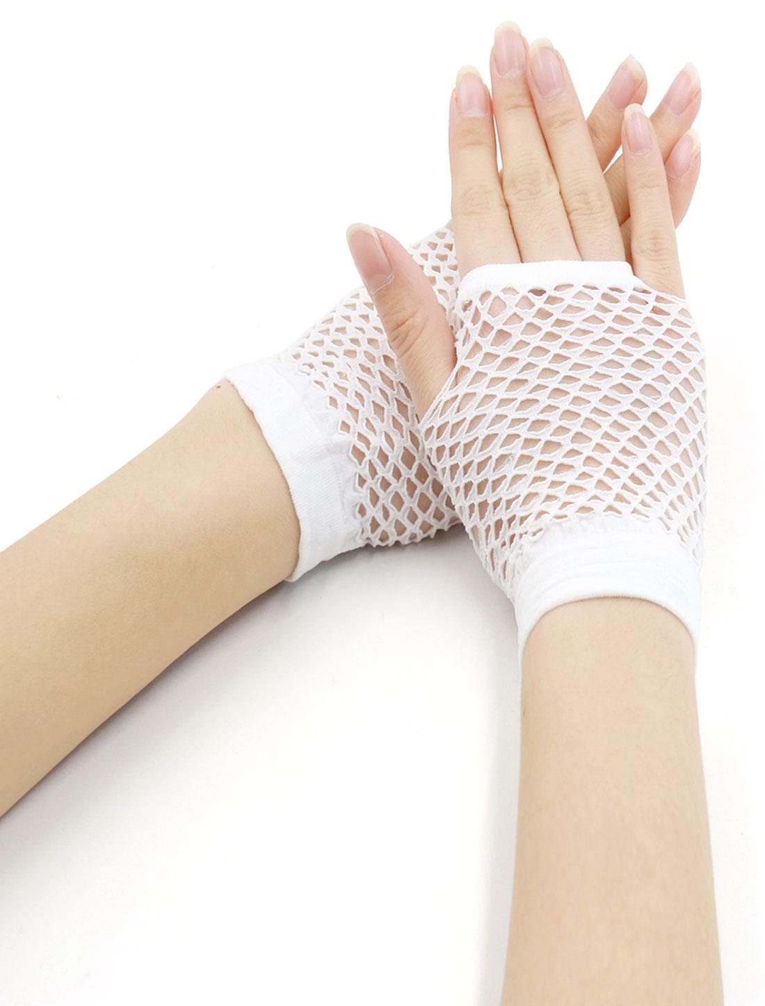 Women Wrist Length Stretchy Fingerless Fishnet Gloves 2 Pairs White