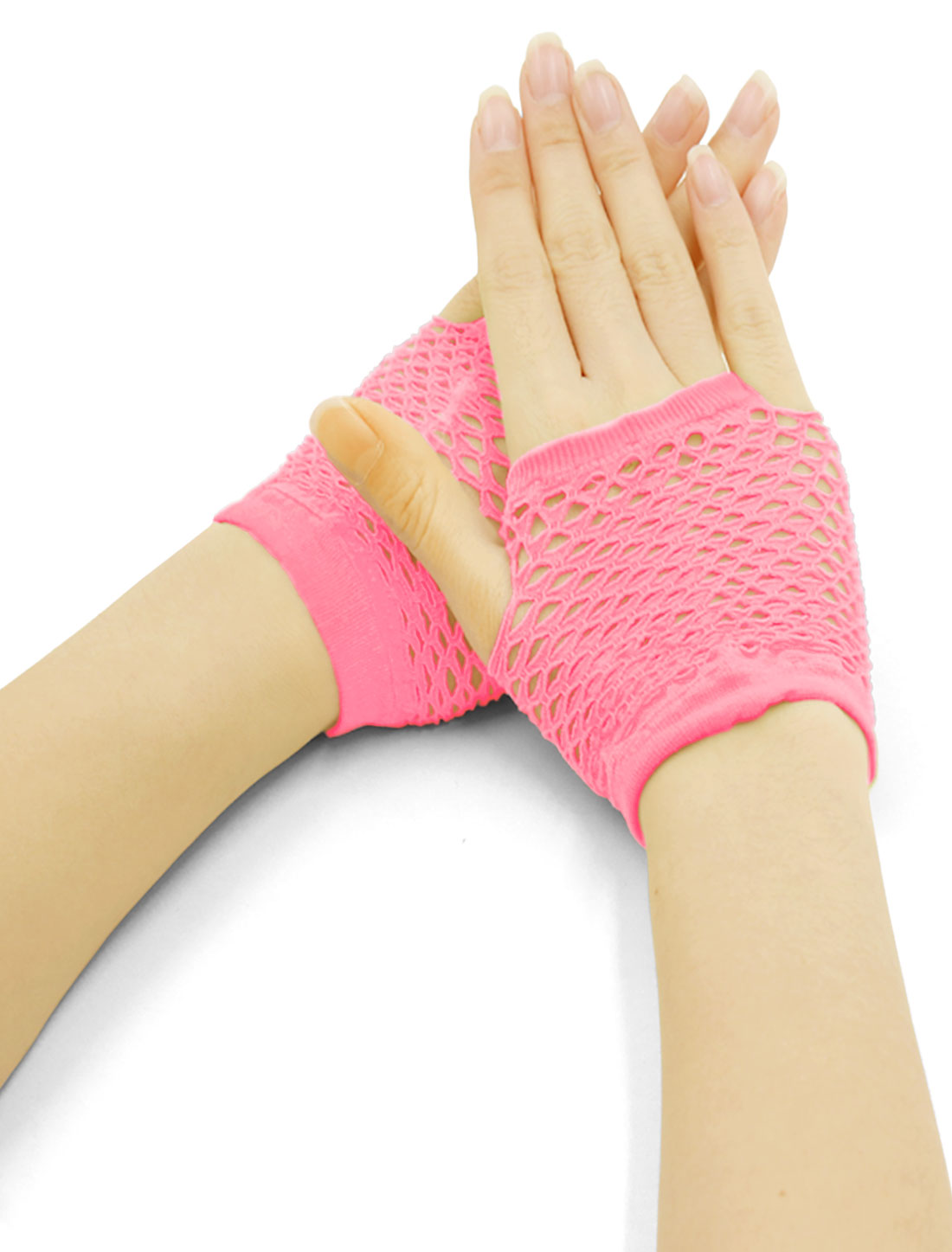 Women Wrist Length Stretchy Fingerless Fishnet Gloves 2 Pairs Pink