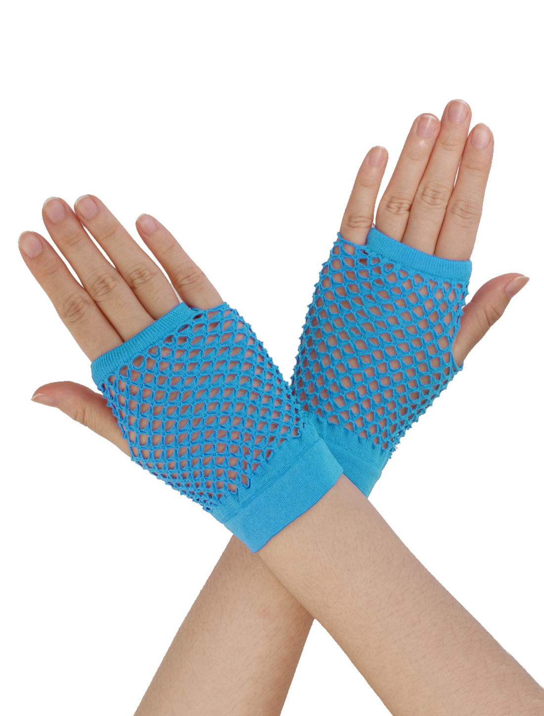Women Wrist Length Stretchy Fingerless Fishnet Gloves 2 Pairs Sky Blue