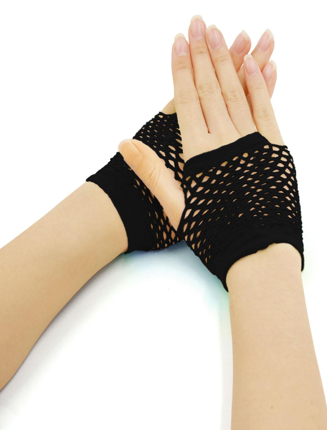 Women Wrist Length Stretchy Fingerless Fishnet Gloves 2 Pairs Black