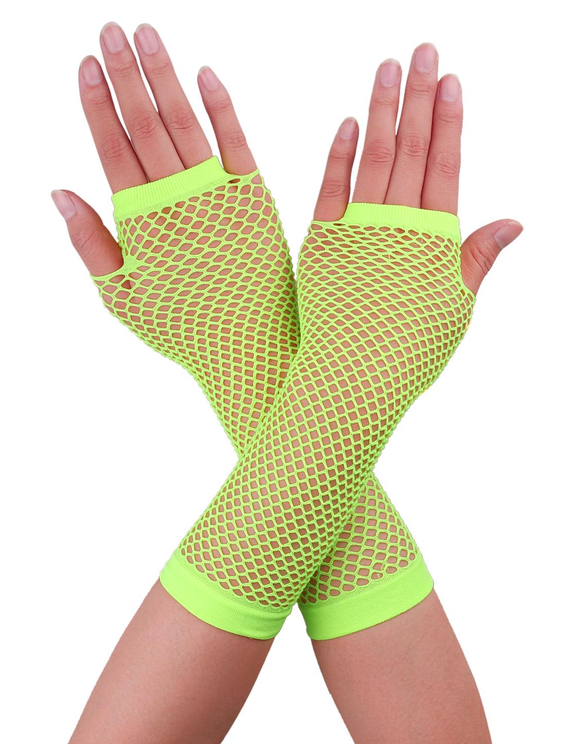 Women Elbow Length Fingerless Fishnet Gloves 2 Pairs Yellow