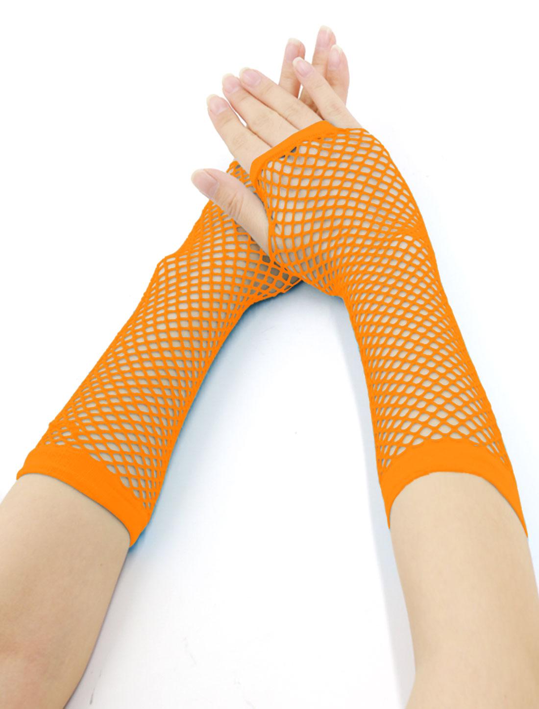 Women Elbow Length Fingerless Fishnet Gloves 2 Pairs Orange