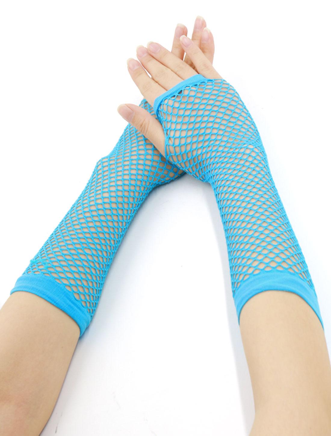 Women Elbow Length Fingerless Fishnet Gloves 2 Pairs Sky Blue