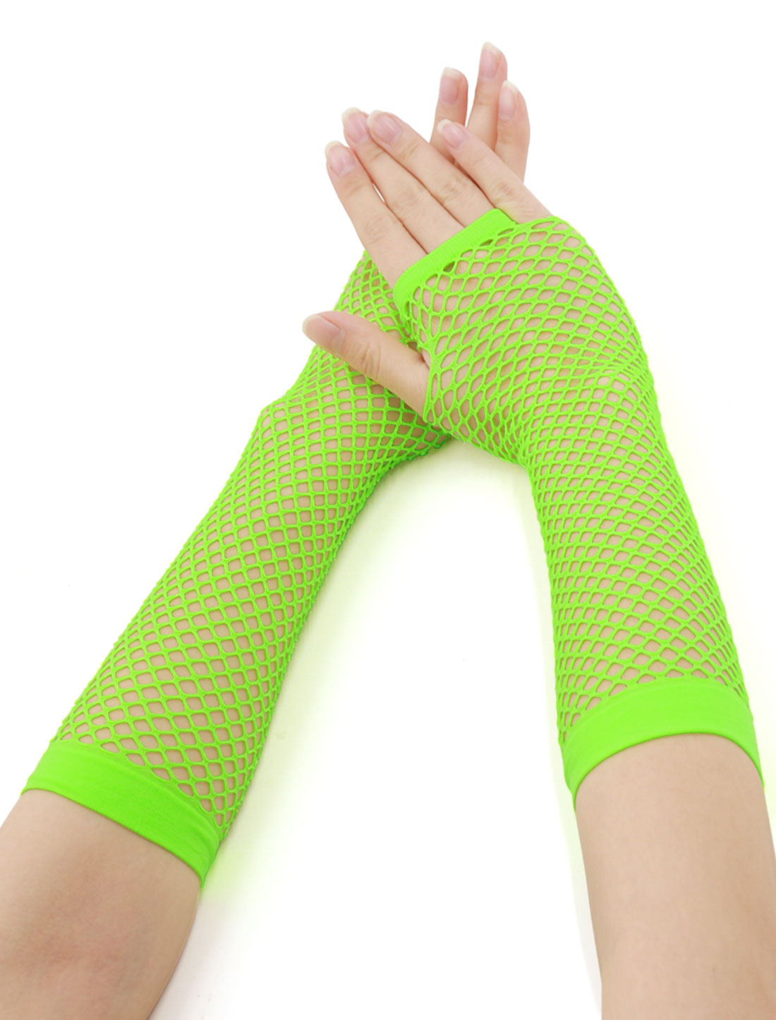 Women Elbow Length Fingerless Fishnet Gloves 2 Pairs Fluorescence Green