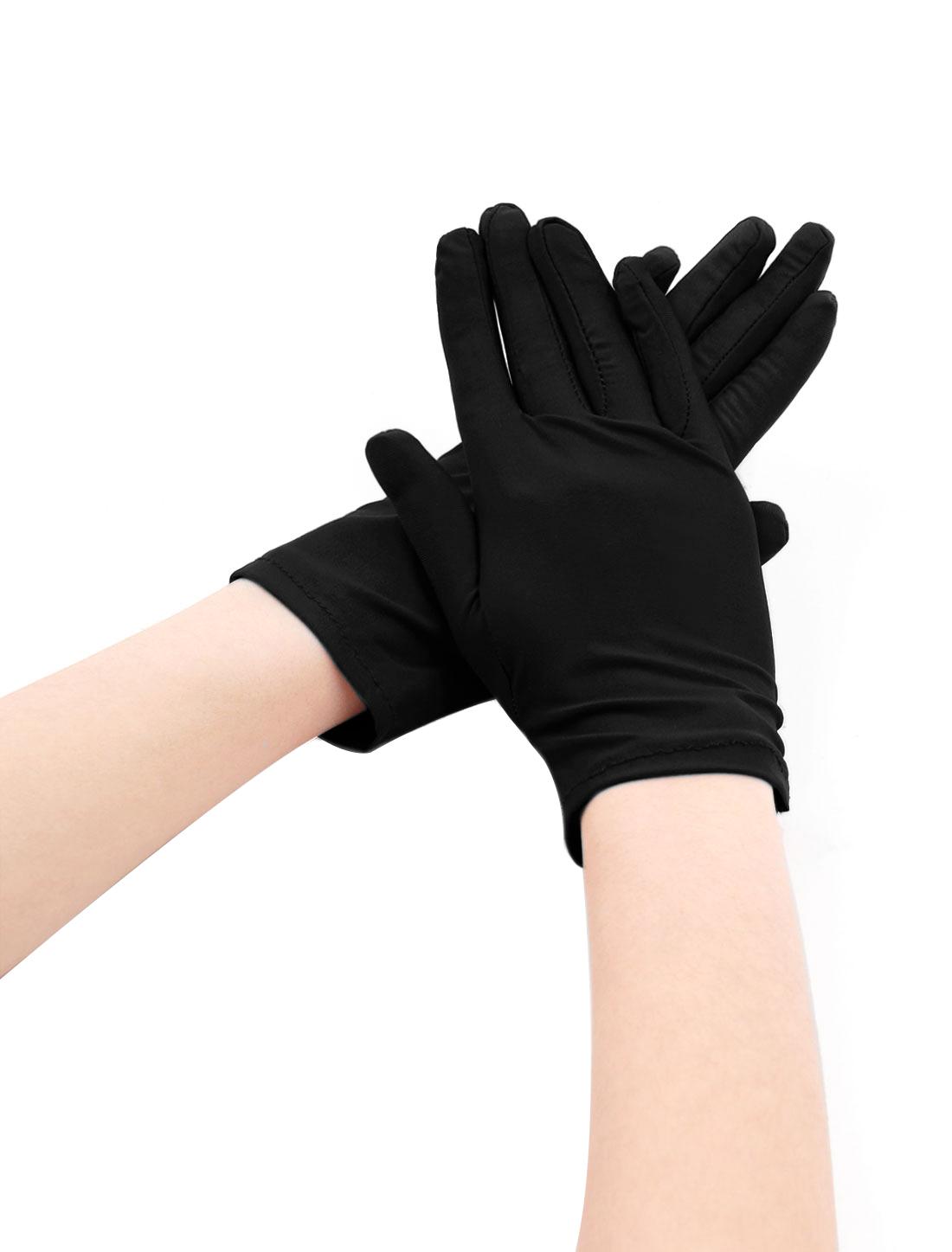 Women Wrist Length Matte Full Finger Stretchy Gloves 5 Pairs Black