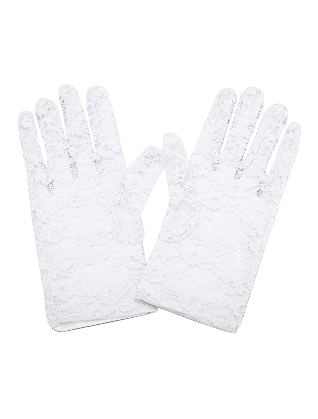 Lady Floral Lace Wrist Length Full Finger Gloves Pair White